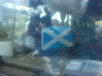 A saltire flag in the 'kombi' (taxi) that picked us up from the airport in Bulaway!