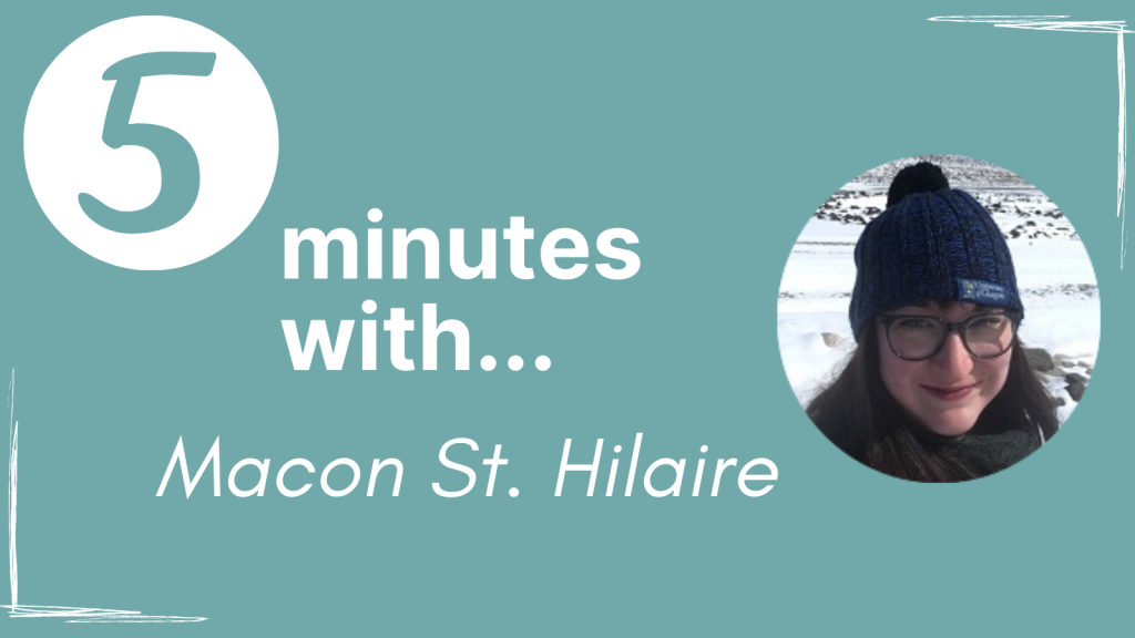 A banner for our series with the text '5 minutes with... Macon St. Hilaire' next to a circular image of Macon.