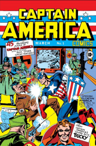 The comic book cover of the very first 'Captain America' comic. Captain America punch Adolf Hitler and they are surrounded by soldiers.