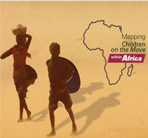 A promotional image from the ACERWC that shows two silhouettes of children next to an outline of Africa. The text reads 'Mapping Children on the Move within Africa'.