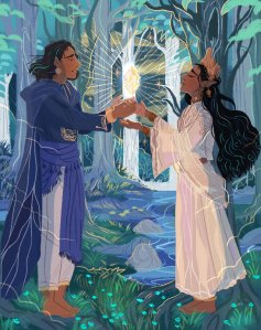 An image of two characters from Lord of the Rings, Beren and Lúthien, drawn with brown skin instead of white.