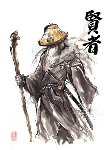 An image of Gandalf the Grey from Lord of the Rings, drawn in a Chinese style.