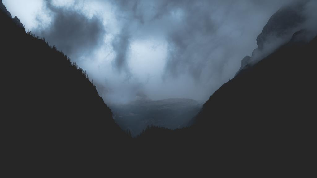 A German mountain range at night during a storm.